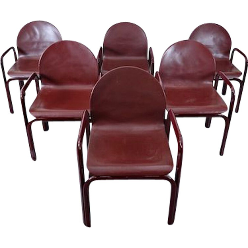 Set of 6 vintage Orsay Armchairs By Gae Aulenti For Knoll International