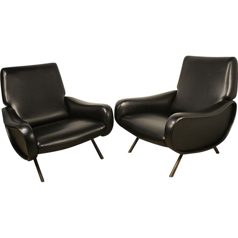 Pair of vintage Lady black leather armchairs, Marco Zanuso for Arflex 1950