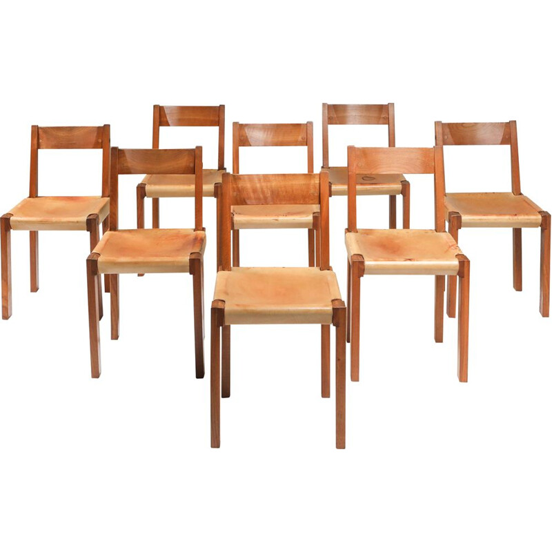 Set of 8 vintage Pierre Chapo Chairs in Solid Elm and Natural Leather 1966s