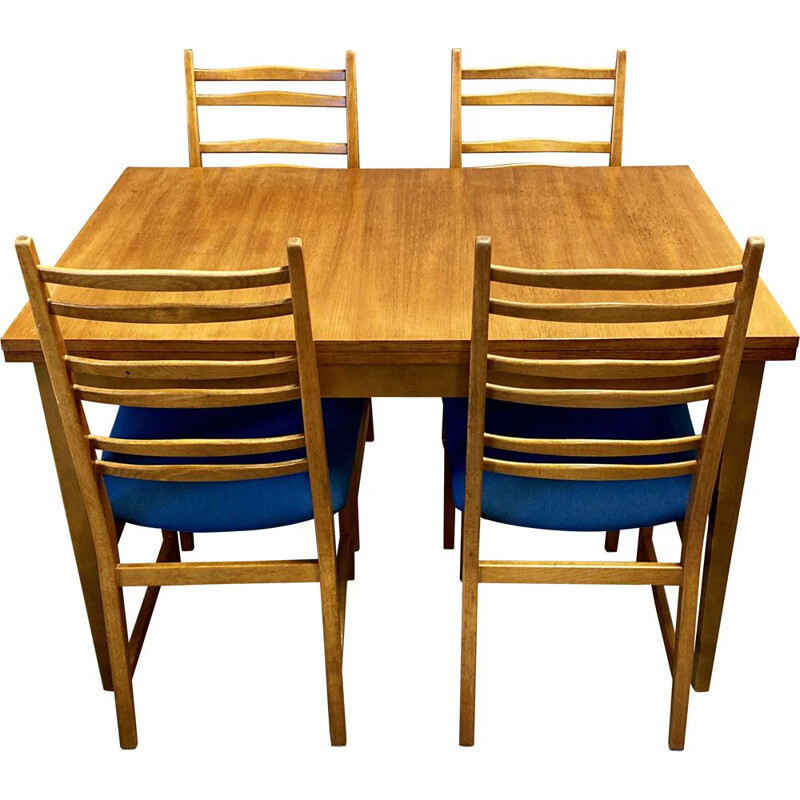 Vintage High table and its 4 Scandinavian chairs 1950s