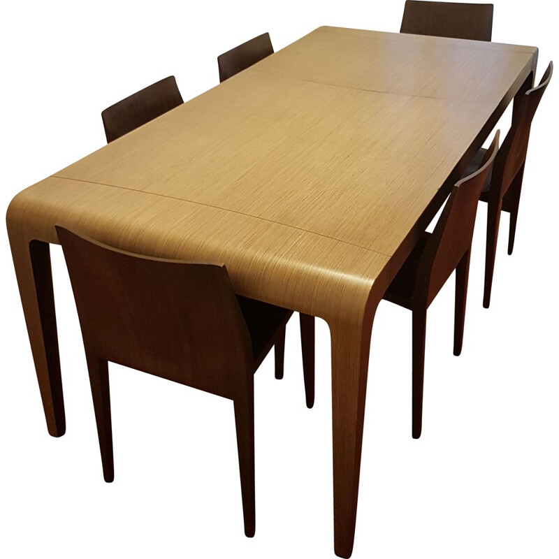"Vintage dining table ""Il Volo"" and 6 chairs by Riccardo Blumer for Alias"