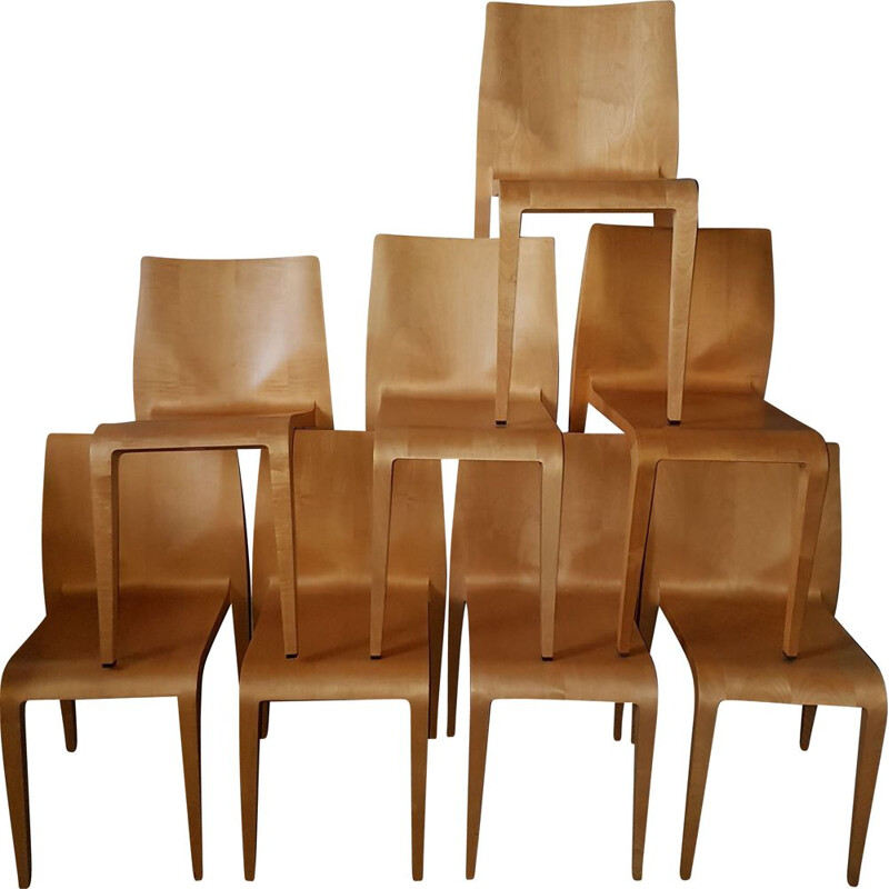 Set of 8 vintage chairs laleggera Alias 1990s