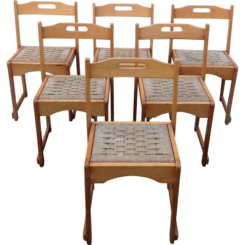 Set of 6 vintage beech chairs 1970s