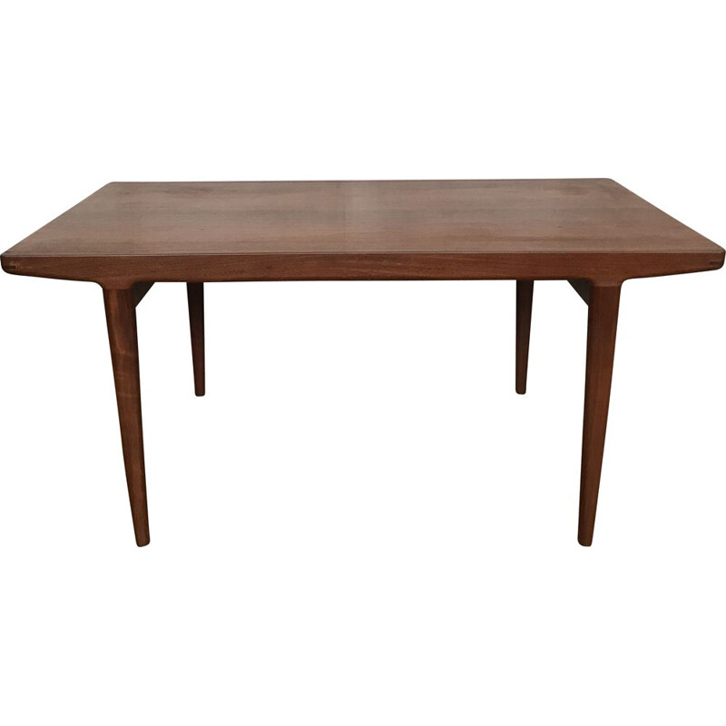 Vintage teak table with tapered legs Scandinavian 1950s