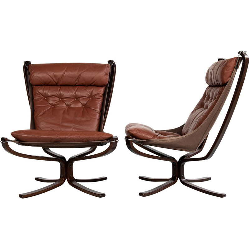 Pair of Midcentury Falcon Chairs by Sigurd Ressell for Vatne Möbler Norway 1970s