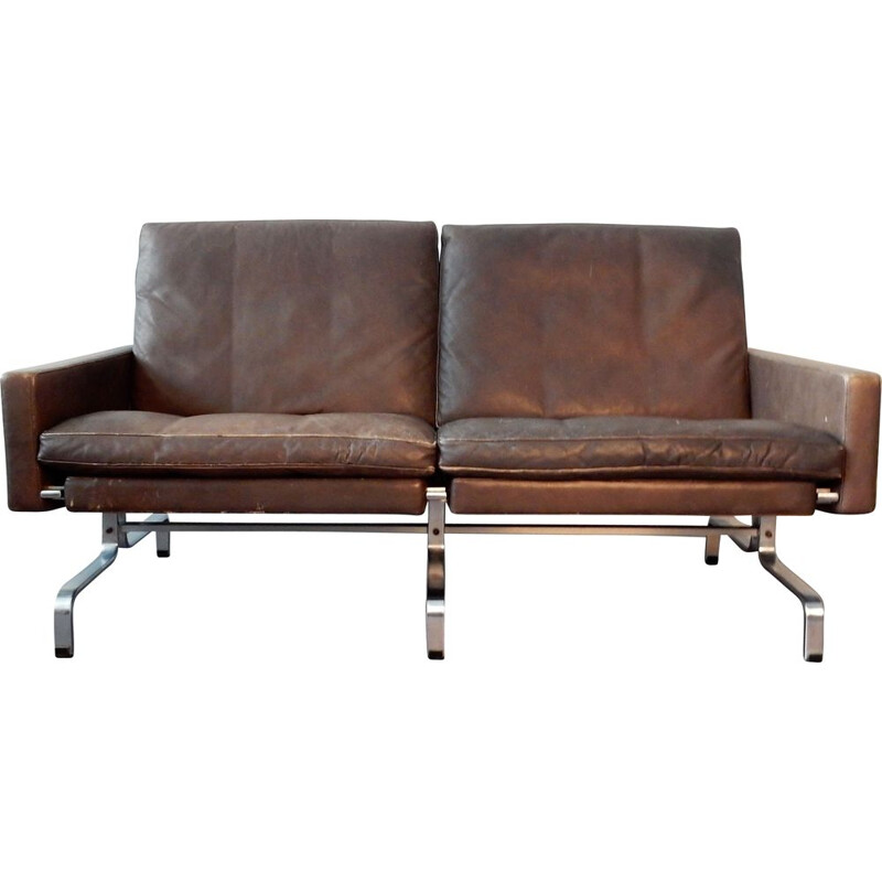 Mid-Century Brown Leather Sofa by Poul Kjærholm for E. Kold Christensen Denmark