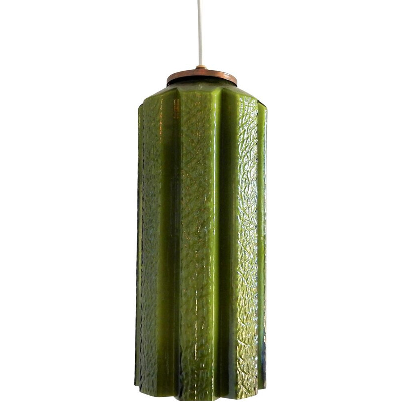 Mid-Century Green Glass Pendant Lamp by Helena Tynell for Flygsfors Swedish 1960s