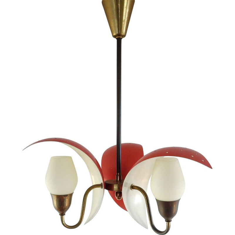 Vintage chandelier in metal, glass and brass, by Bent Karlby for Fog & Morup 1950
