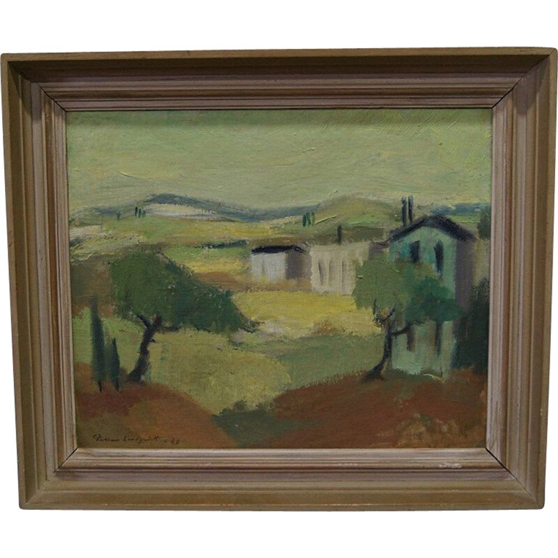 Vintage modern oil painting by Fabian Lundqvist, Sweden 1949