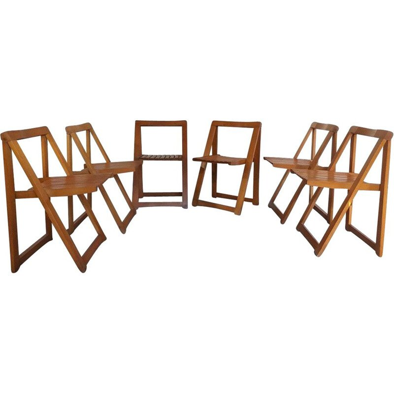 Set of 6 vintage folding chairs Aldo Jacober 1970s