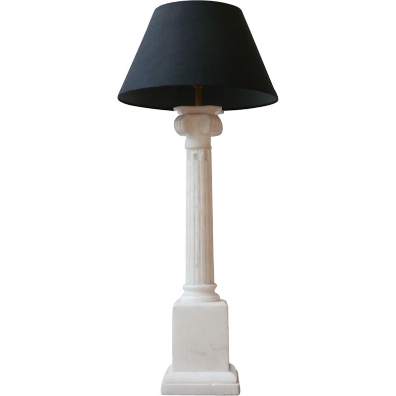 Vintage white marble column table lamp, England
