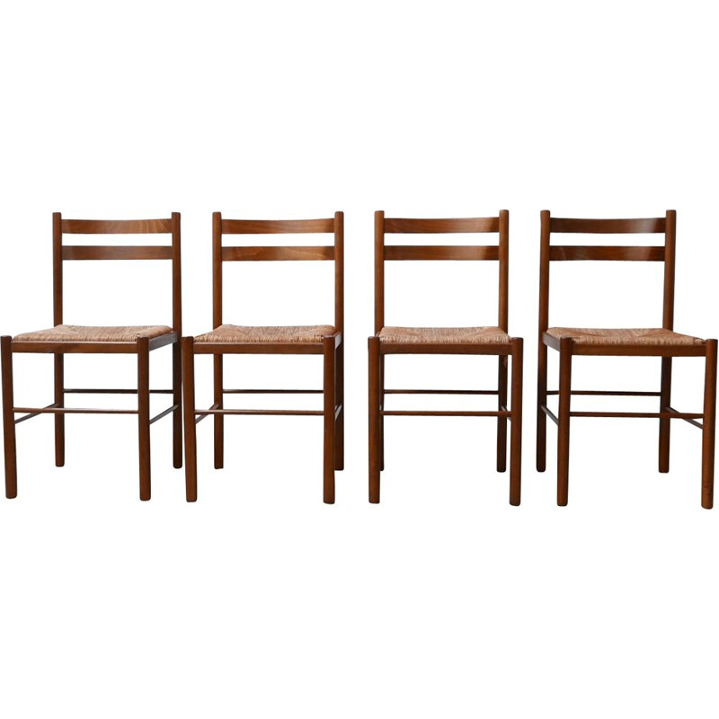 Set of 4 vintage Rush chairs 1960