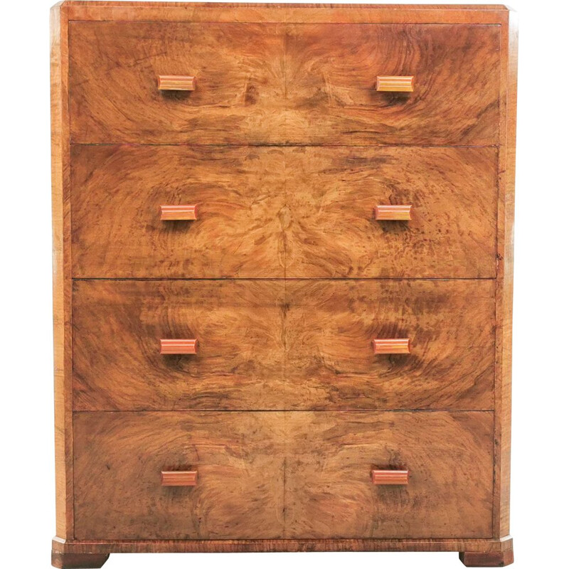 Vintage walnut and bakelite chest of drawers, Art Deco, British 1930s