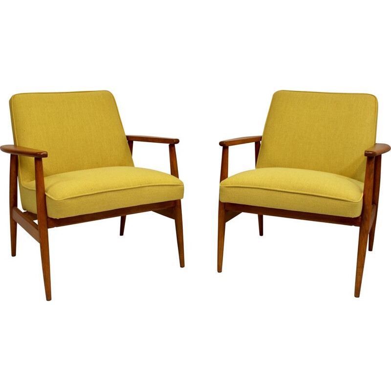 Pair of vintage yellow fabric armchairs by M. Zieliński 1960