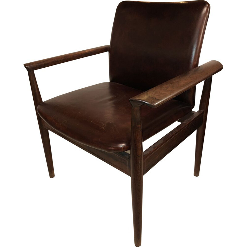Vintage Diplomat armchair in solid rosewood and leather by Finn Juhl, Danish 1960