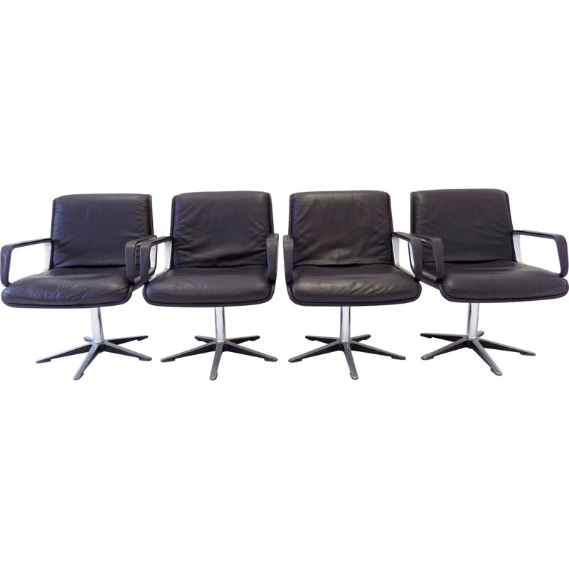 Lot of 4 vintage Wilkhahn Delta 2000 black leather chairs by Delta 1968