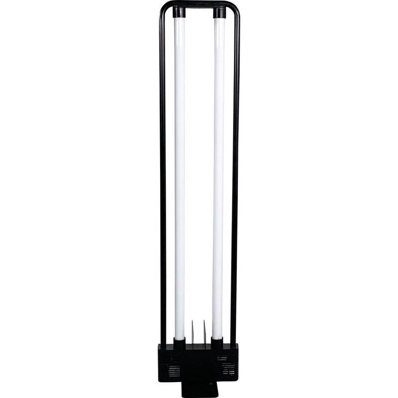 Vintage black fluorescent floor lamp by Gian N. Gigante for Zerbetto 1980