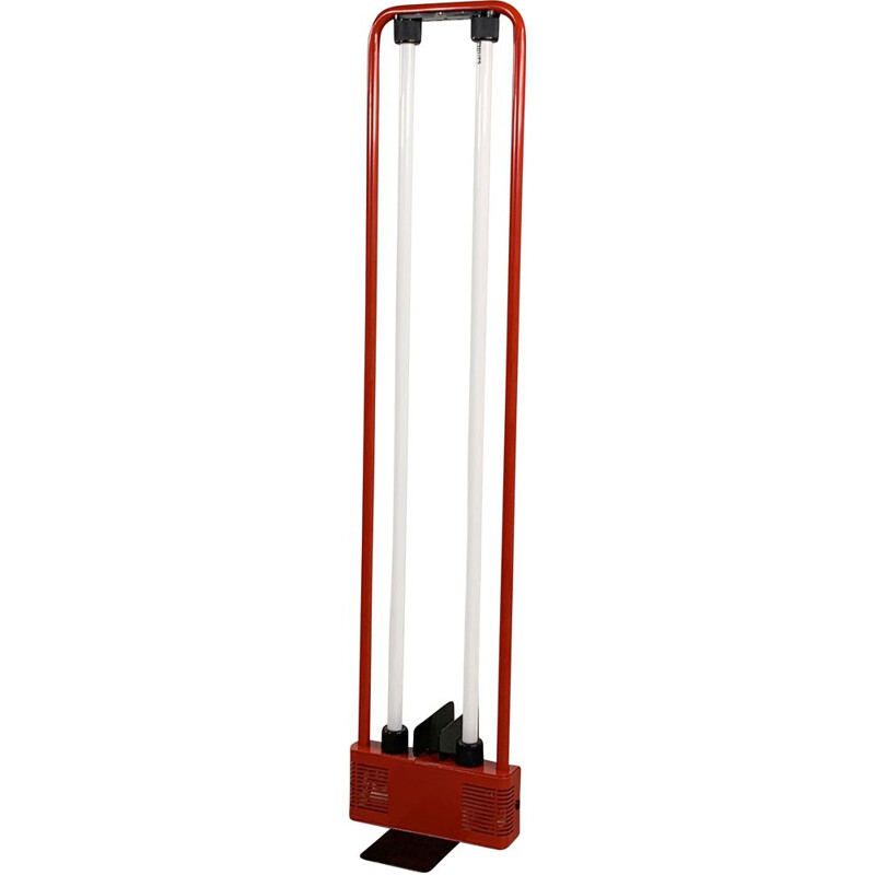 Gian N. Gigante's vintage red fluorescent floor lamp for Zerbetto 1980