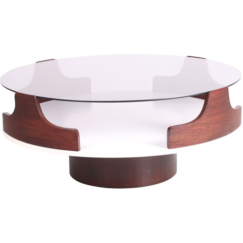 Vintage coffee table with smoked glass, Spage Age, 1960