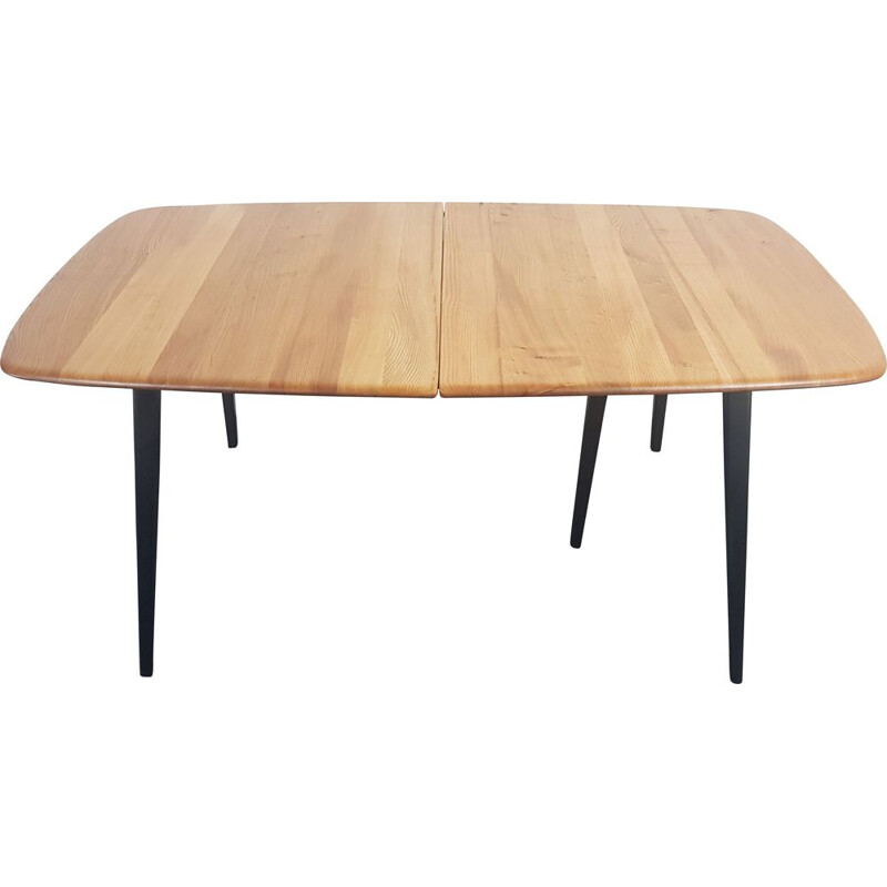 Vintage extensible table with black legs Ercol Grand 1960