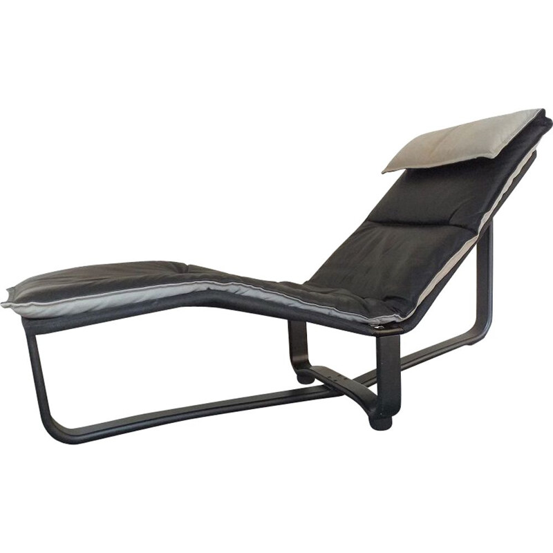 Vintage Rest black leather lounge armchair by Ingmar Relling, Scandinavian 1970