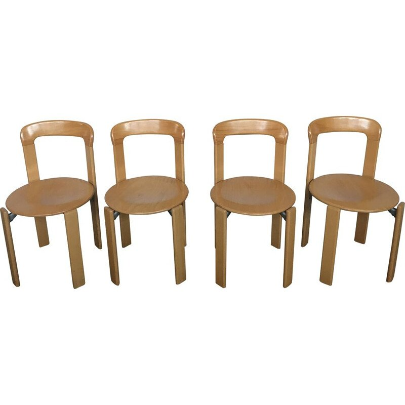 Lot of 4 vintage chairs model 3300 by Bruno Rey for Kusch & Co 1970