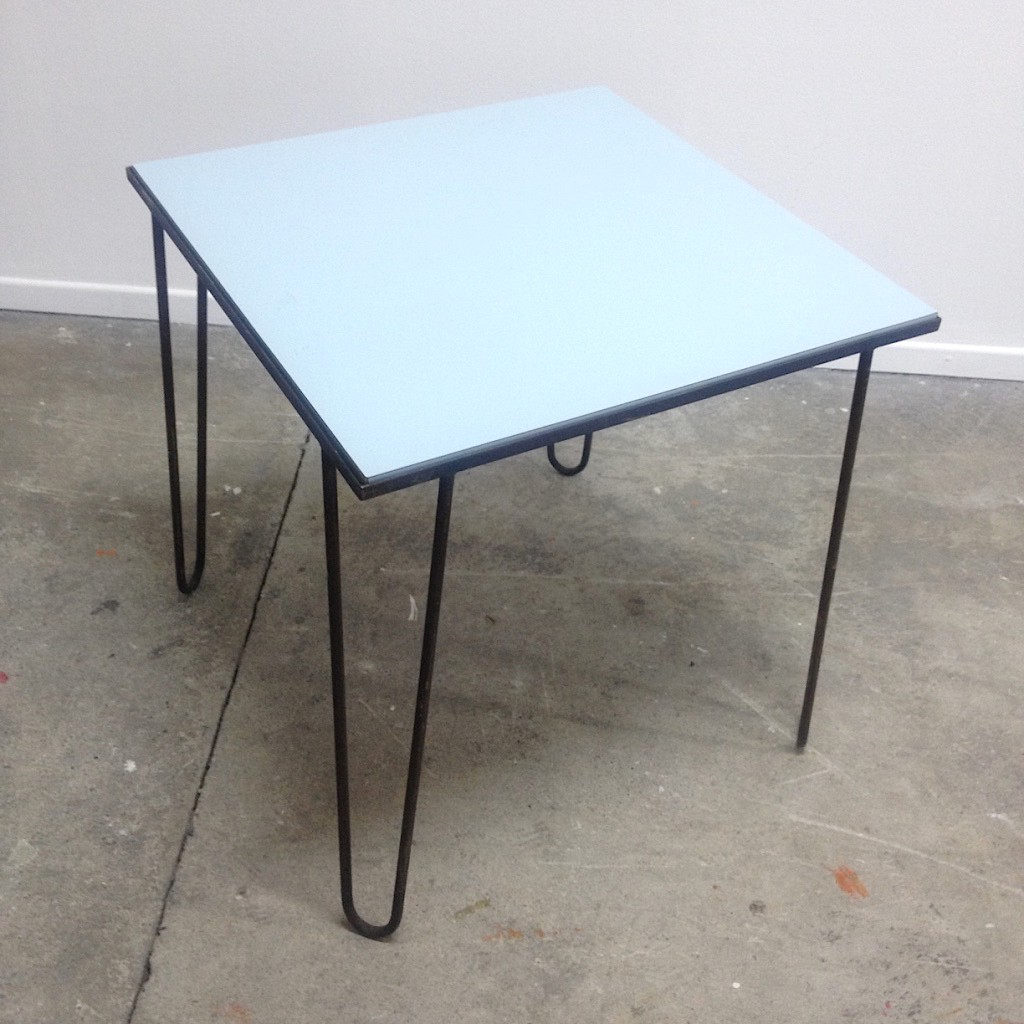 Small Table In Metal And Grey Formica With Hairpin Legs