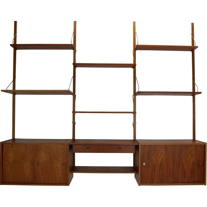 Mid-Century Modern Teak and Brass Modular Wall Shelving Unit Danish 1960s