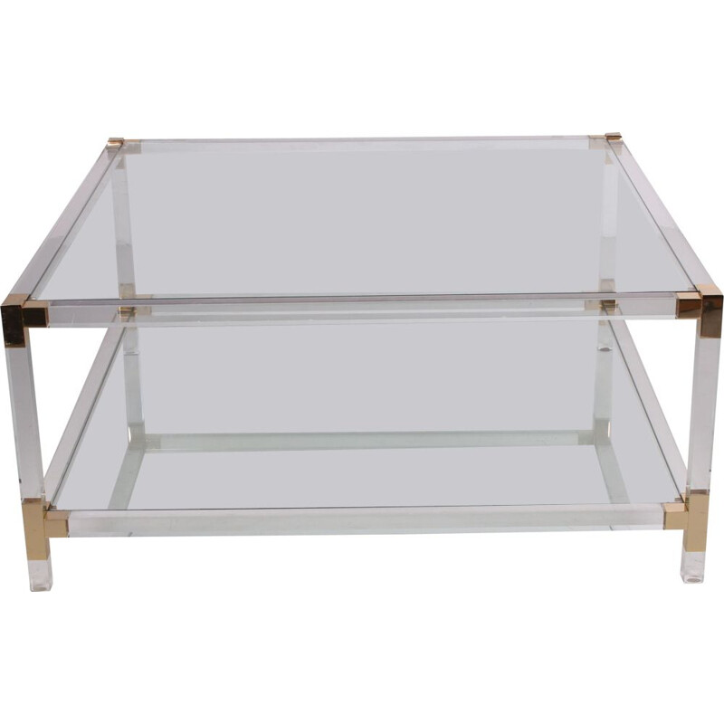 Vintage Coffee table lucite & brass  Charles Hollis Jones 1970