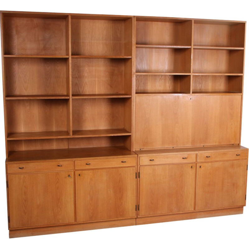 Vintage oak Scandinavian wall unit
