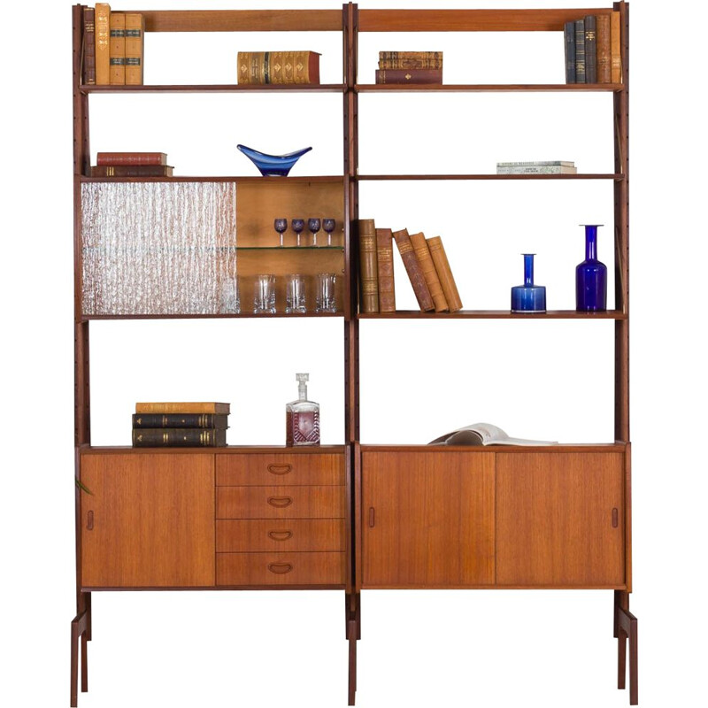 Vintage Free standing teak wall unit by Torbjorn Afdal For Bruksbo Tyristrand Norway 1960s