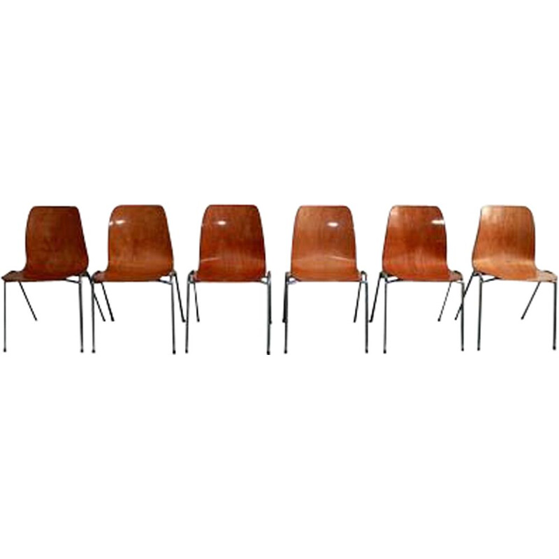 Set of 6 vintage Pagholz bicolor chairs by Adam Stegner 1960s