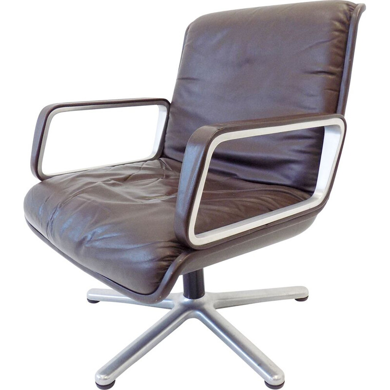 Vintage brown leather lounge chair by Wilkhahn Delta  1960s