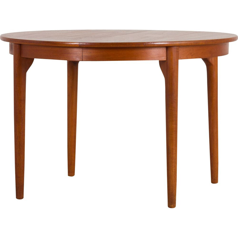 Vintage round extension table in teak Danish 1960s