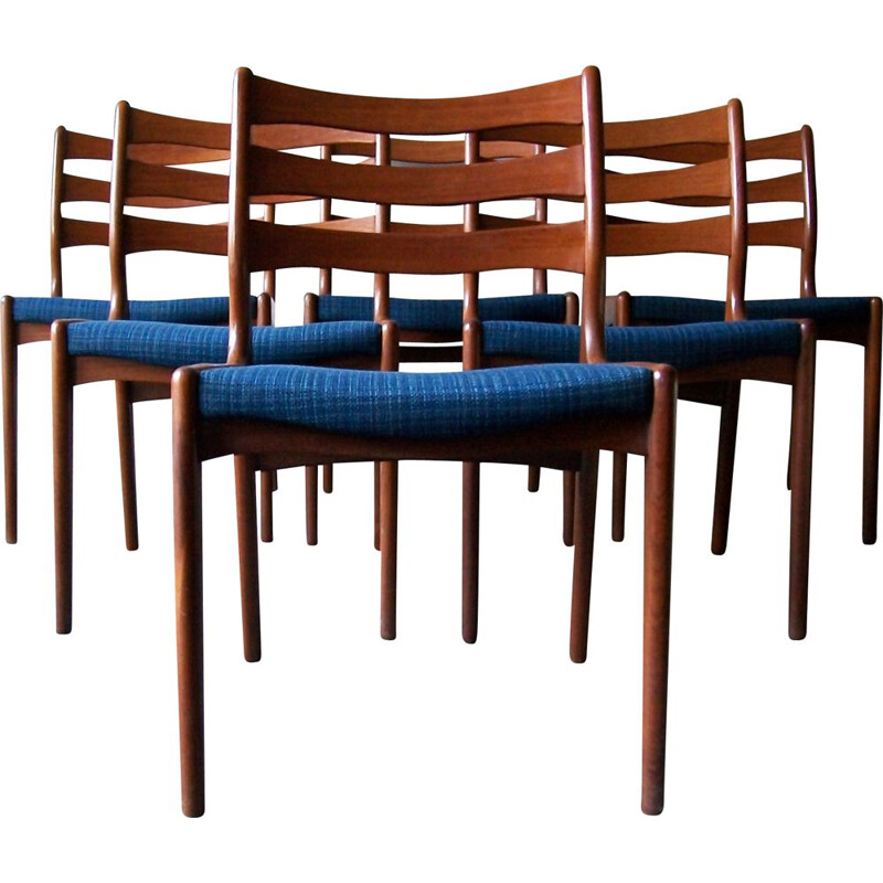Set of 6 vintage teak chairs by Erik Buch Danish 1960s
