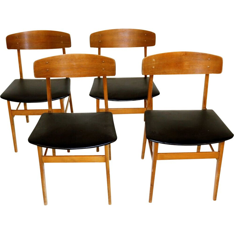 Set of 4 vintage teak and beech chairs Denmark 1960s