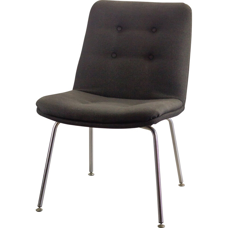 Pair of Artifort chairs in black fabric and chromed metal, Geoffrey HARCOURT - 1960s