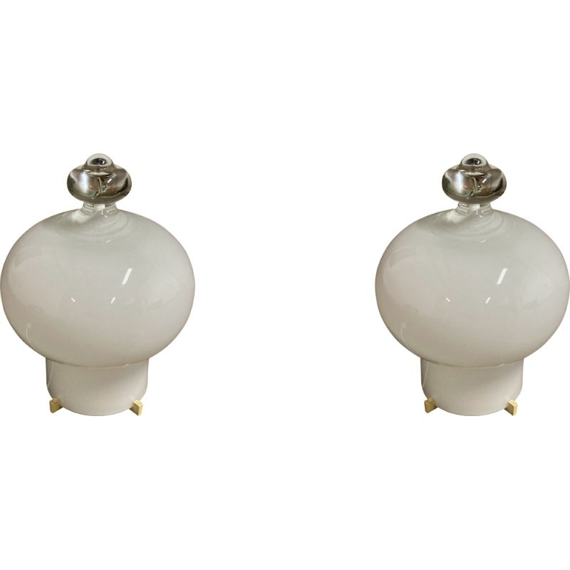 Pair of vintage glass lamps 1960s