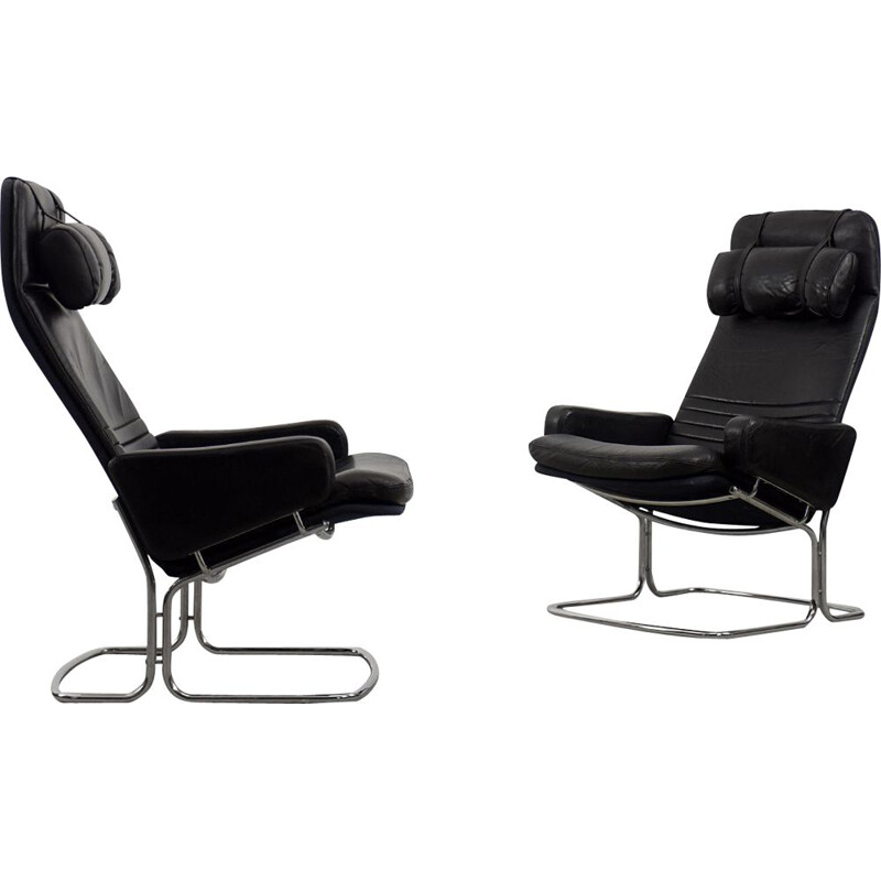 Pair of Mid-Century Black Leather Armchair by Ire Möbel Scandinavian 1970s