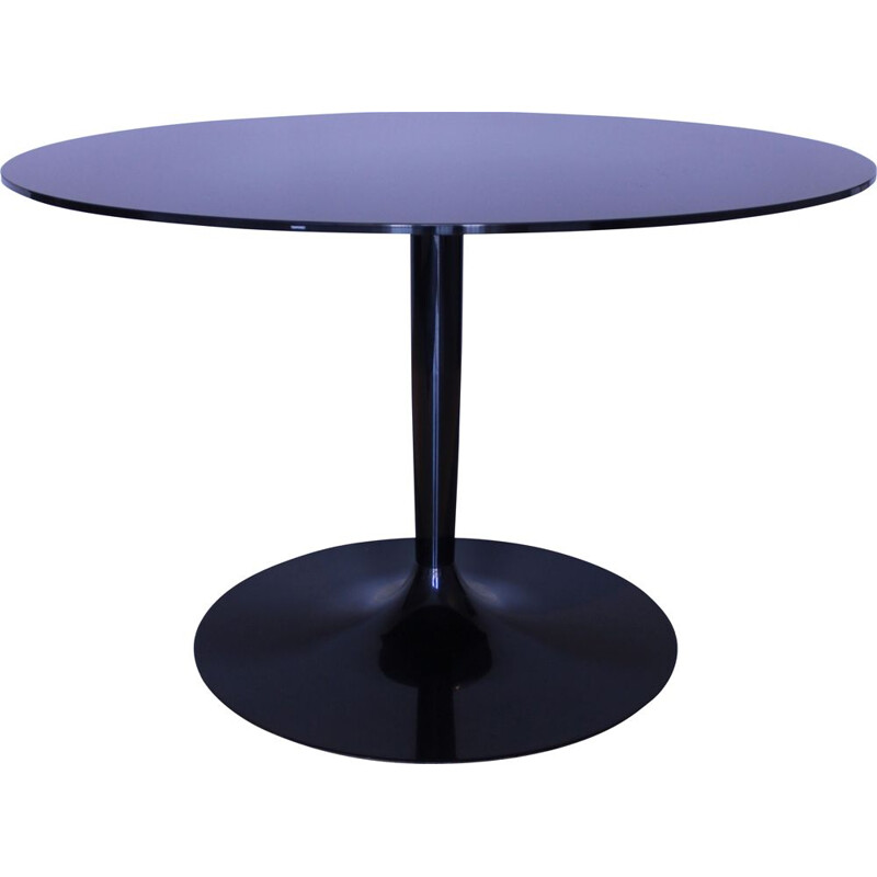 Vintage Round table in mirrored black glass Calligaris Italy 1980s