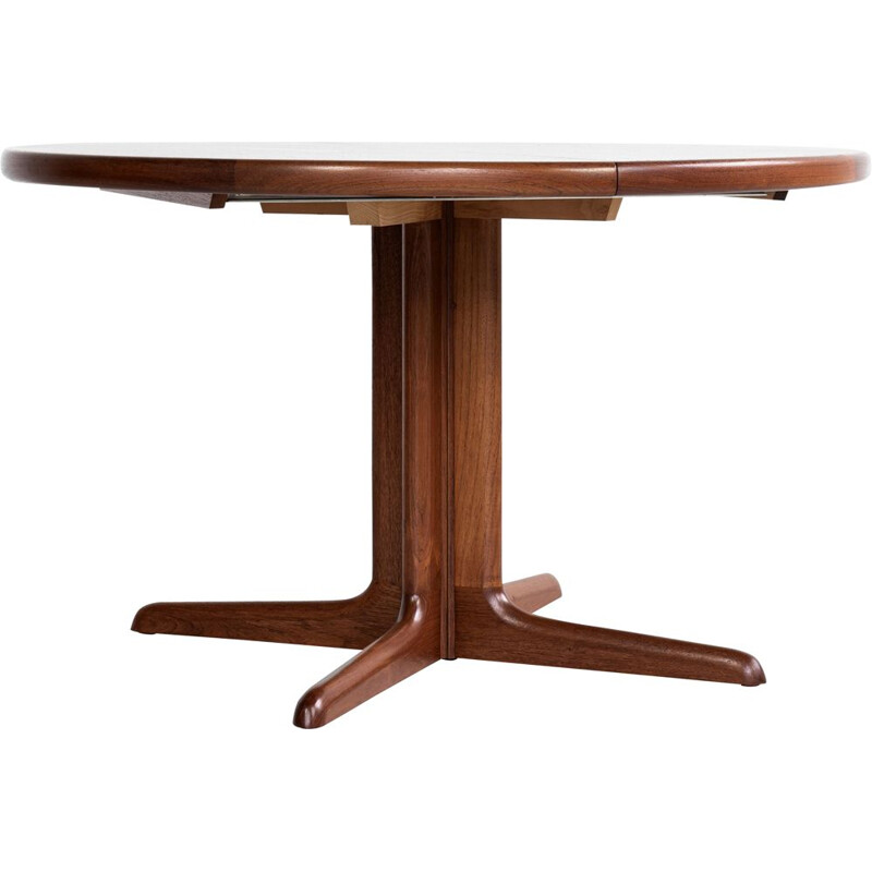 Midcentury round dining table in teak with 2 extensions by Skovby Danish 1960s