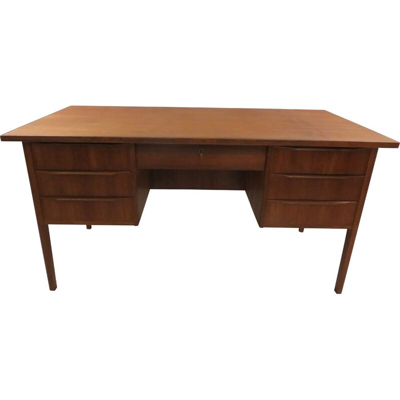 Large vintage double-sided teak desk Scandinavian 1960s