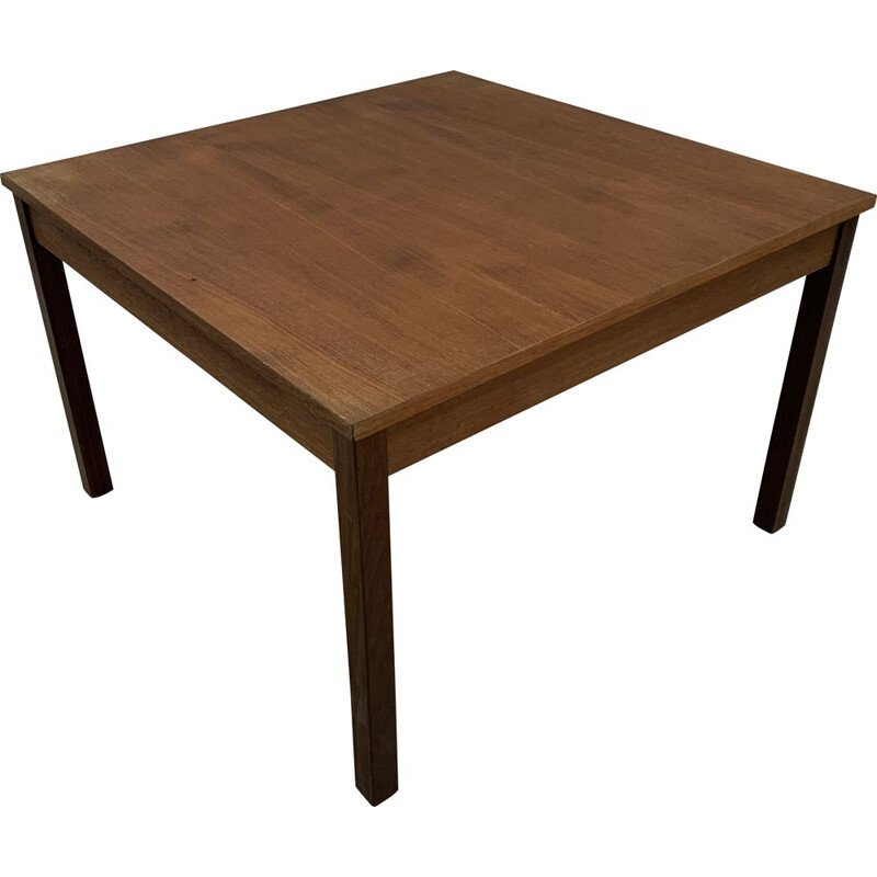 Vintage square teak coffee table Domino Mobler scandinave 1960s
