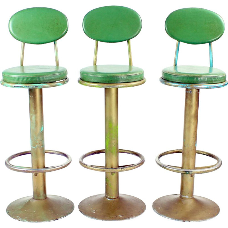 Set of 3 Vintage Bar Stools In Metal And Leather Czechoslovakia 1950s