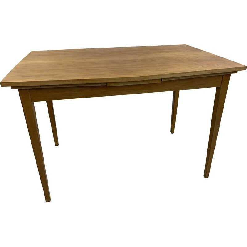 Large vintage light wood dining table Lübke 1960s