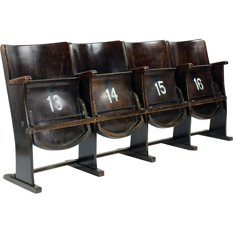 Set of 4 vintage Cinema Bench By Ton Czechoslovakia 1950