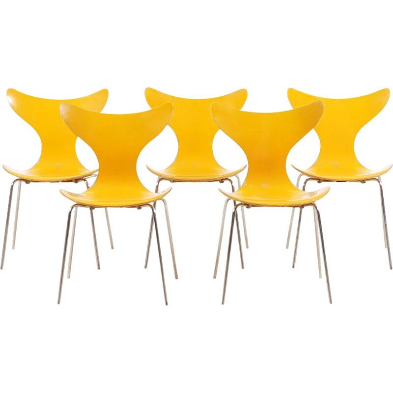 Set of 5 vintage chairs by Arne Jacobsen for the Danish National Bank 1968s