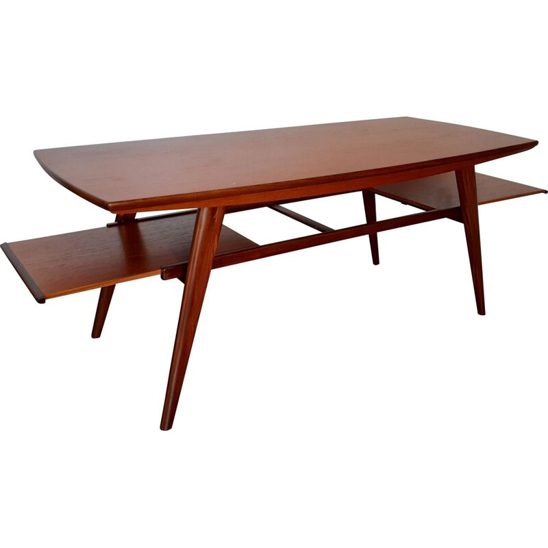 Vintage Teak coffee table with stretch top Norwegian 1960s