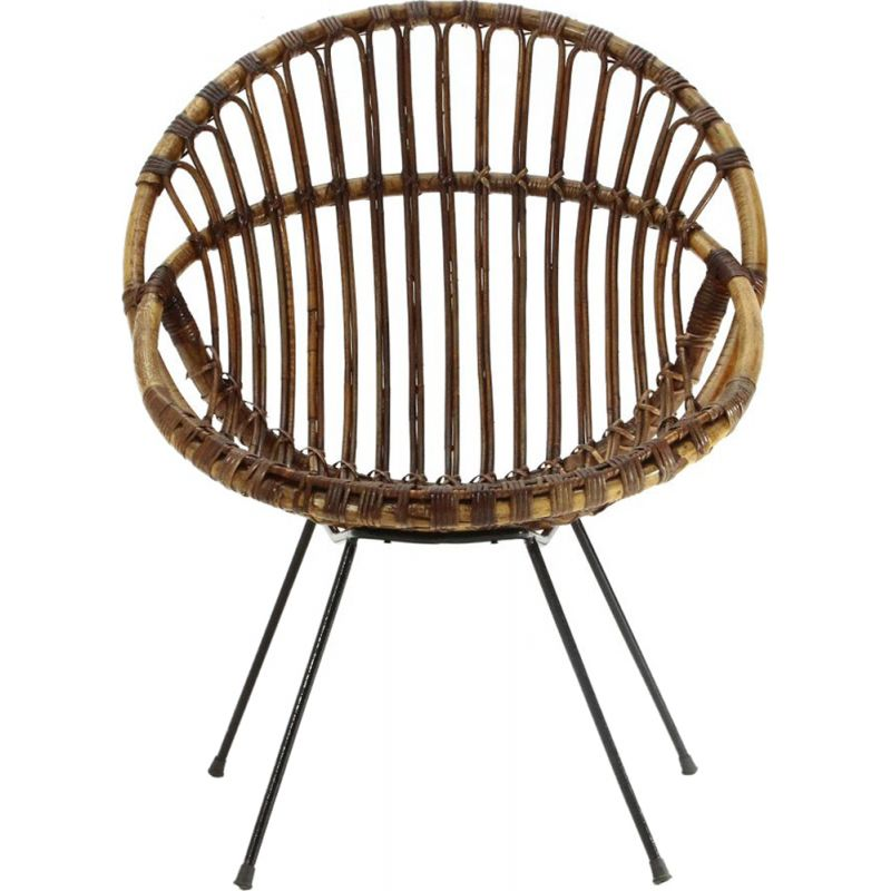 Vintage Armchair in rattan and black rod 1950s