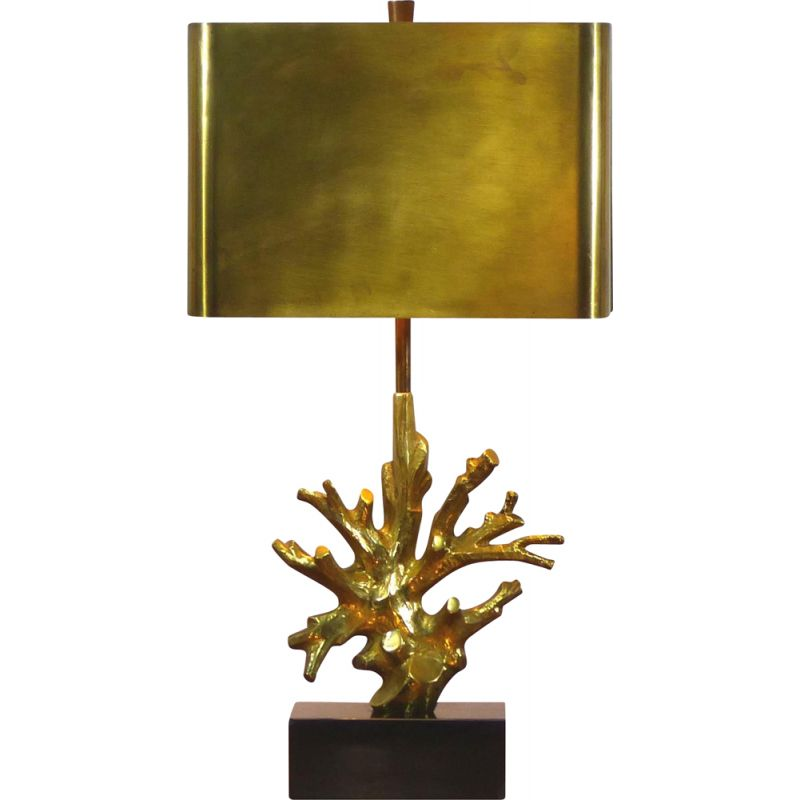 Vintage coral table lamp Maison Charles 1970s